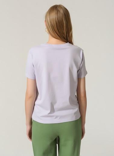 People By Fabrika Kadın Baskılı  Tişört PFKSS21TS0056 Lila